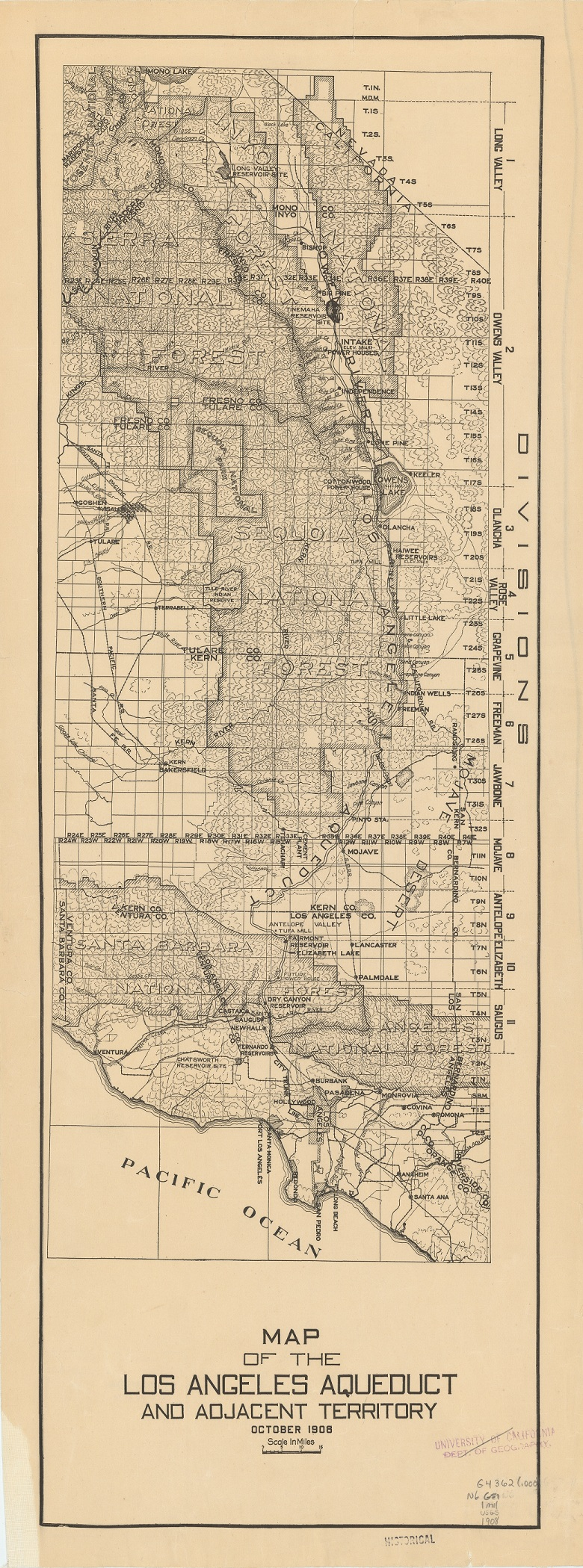 Map Of The Los Angeles Aqueduct And Adjacent Territory 1908